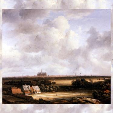 Jacob Isaackszon van Ruisdael: Ansicht von Haarlem mit Bleichfeldern, verfremdet