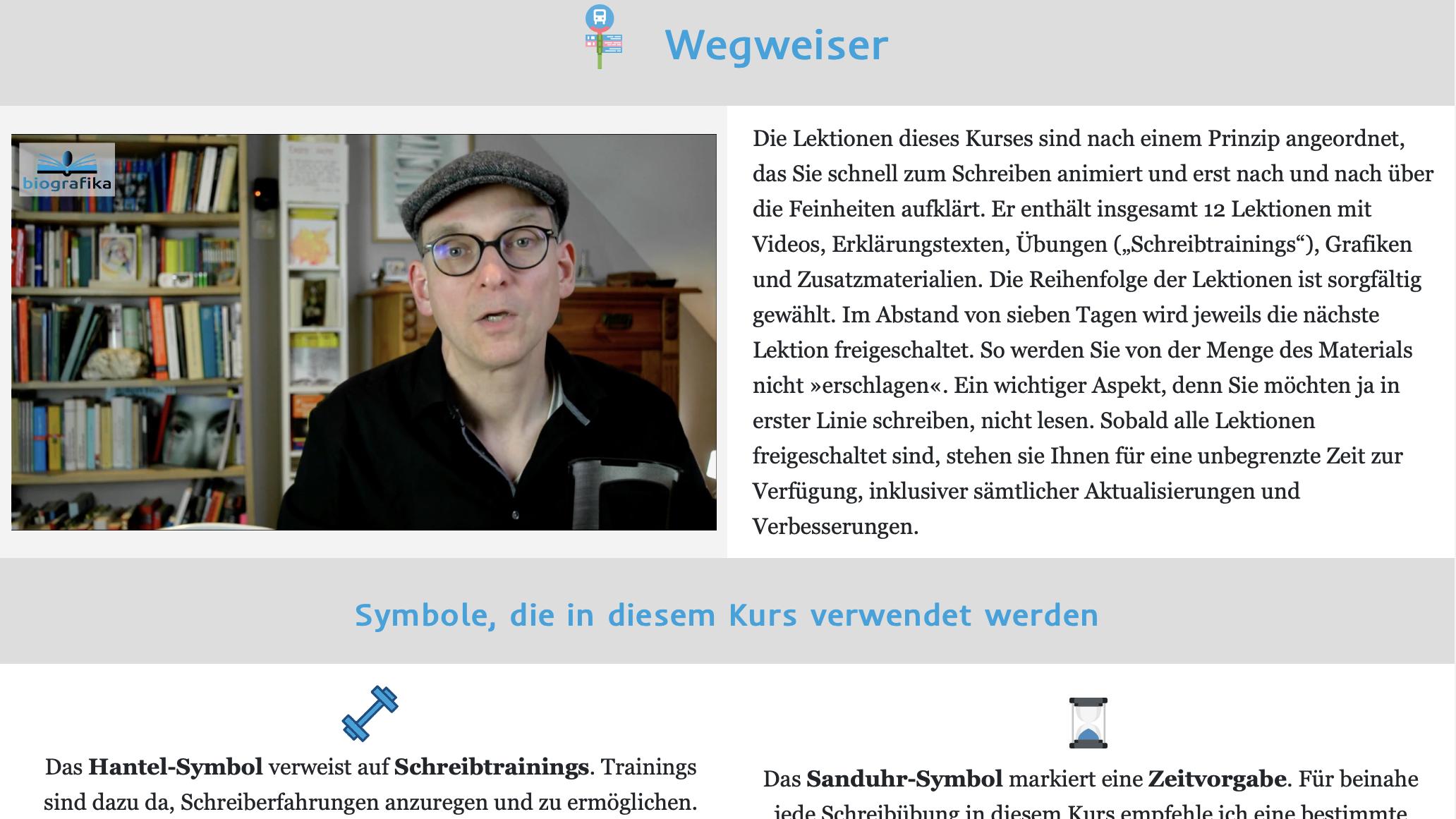 Bildschirmfoto biografischer Kompass, Wegweiser